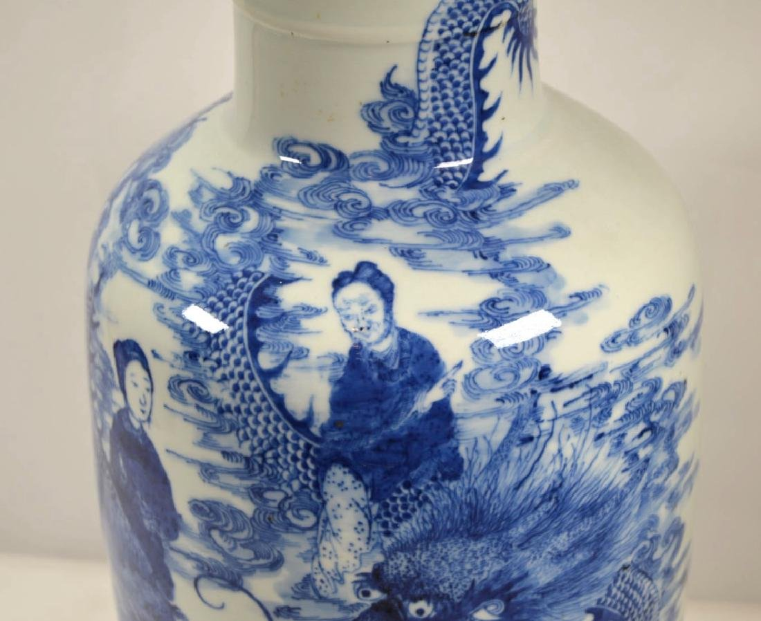 19th C Chinese Blue & White Dragon Porcelain Vase - 3