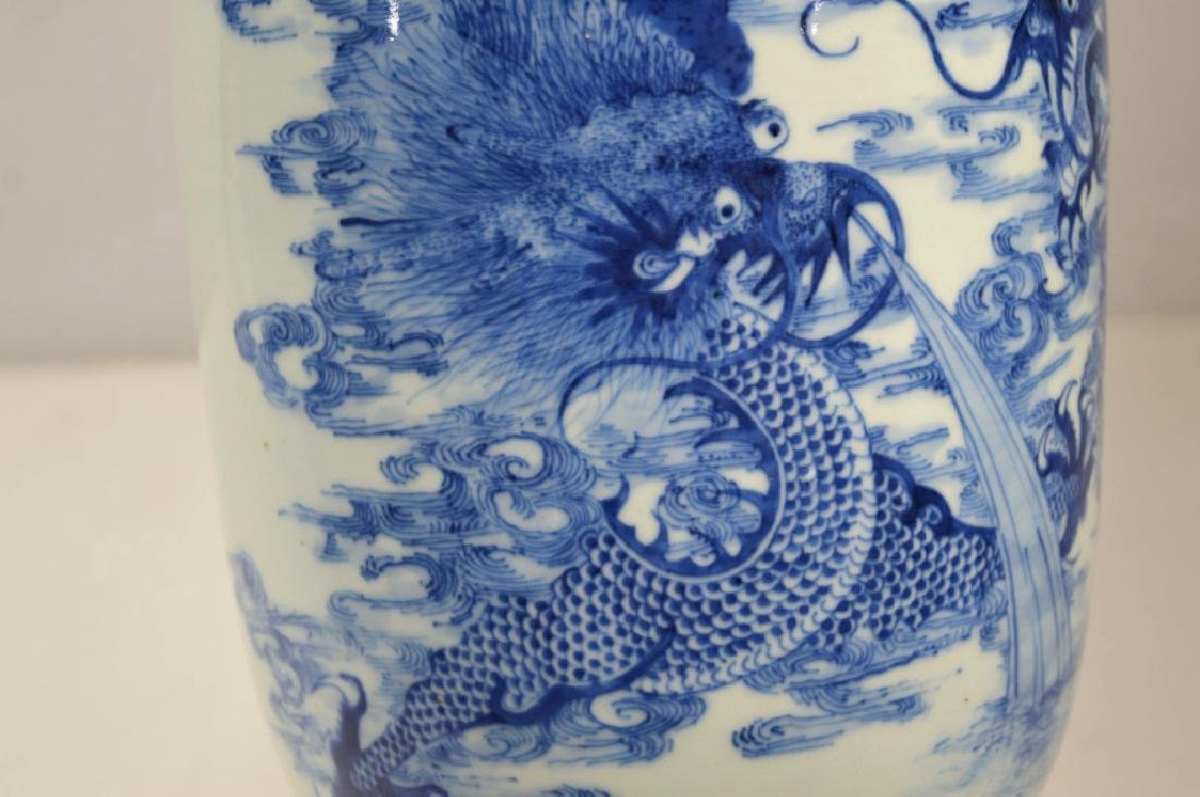 19th C Chinese Blue & White Dragon Porcelain Vase - 4