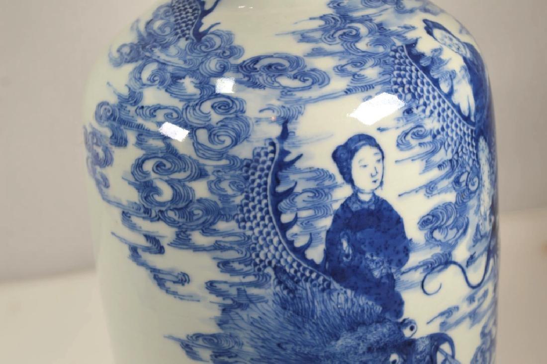 19th C Chinese Blue & White Dragon Porcelain Vase - 5