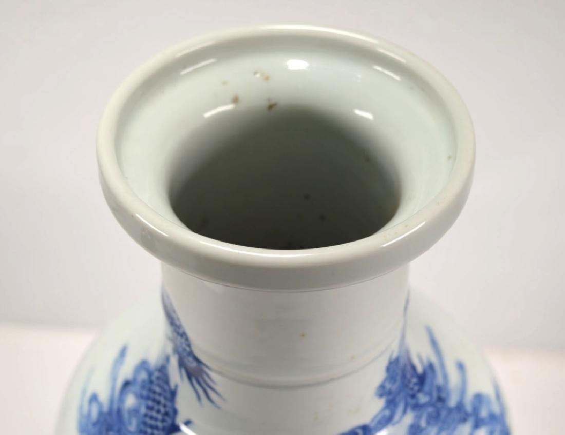 19th C Chinese Blue & White Dragon Porcelain Vase - 6