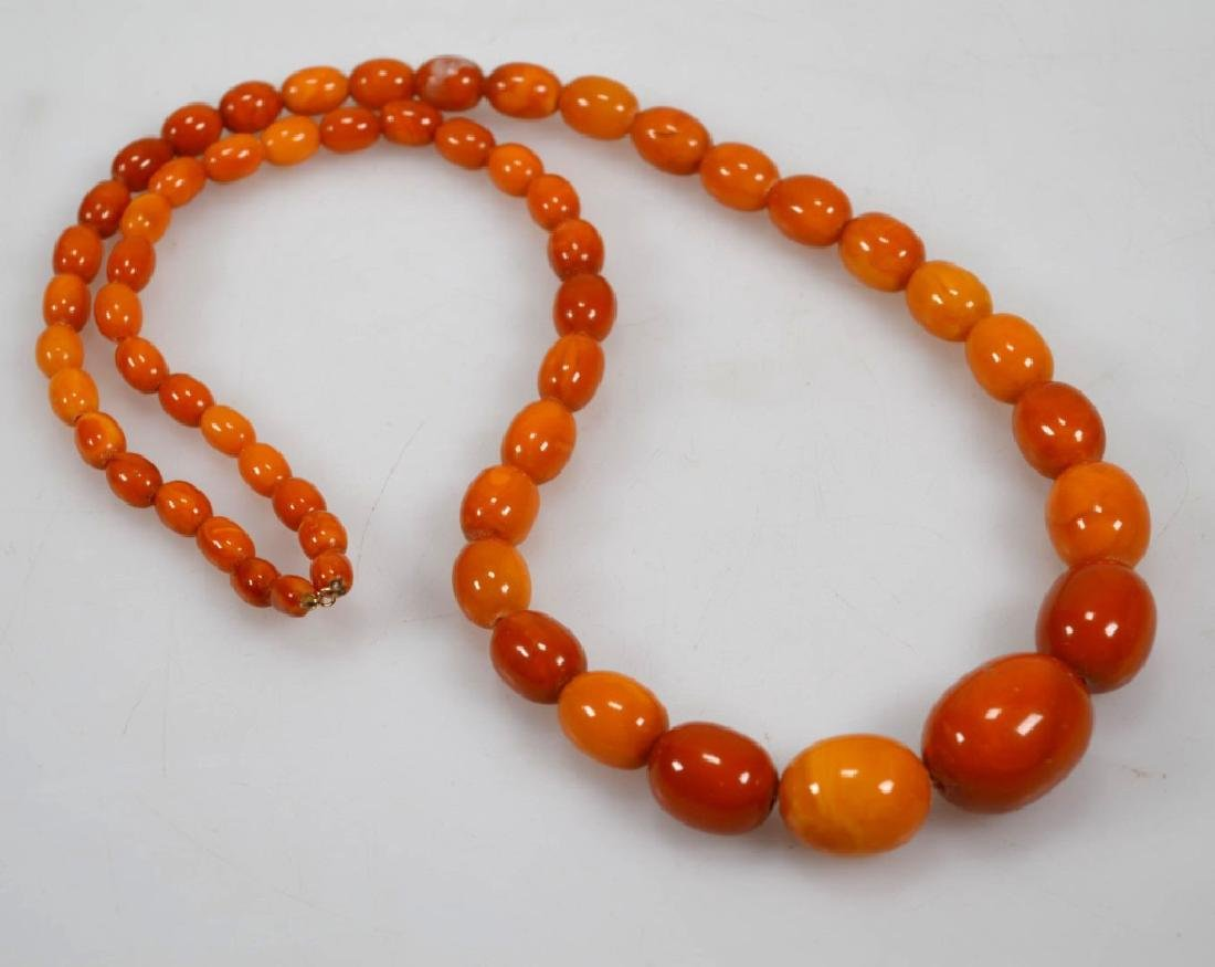 2- Butterscotch Amber Bead Necklaces; 91G - 2