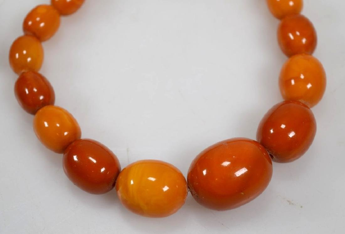 2- Butterscotch Amber Bead Necklaces; 91G - 3