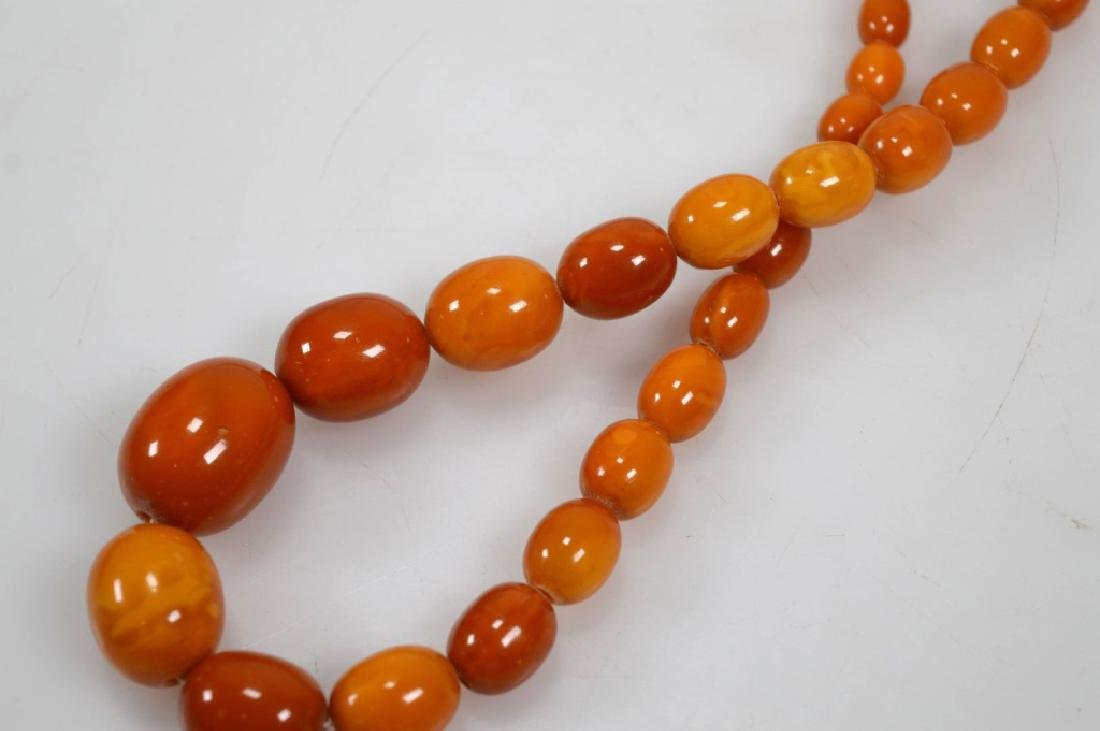 2- Butterscotch Amber Bead Necklaces; 91G - 4