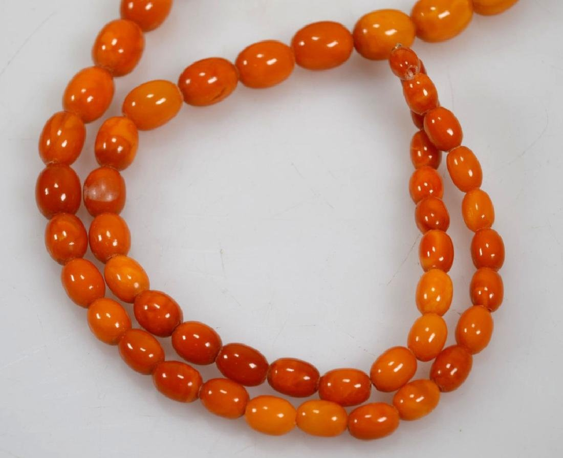 2- Butterscotch Amber Bead Necklaces; 91G - 5