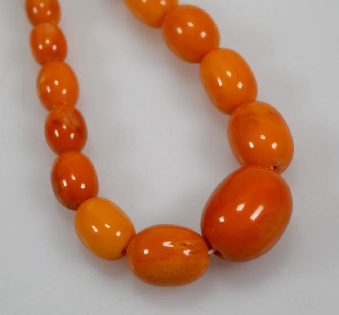 2- Butterscotch Amber Bead Necklaces; 91G - 8