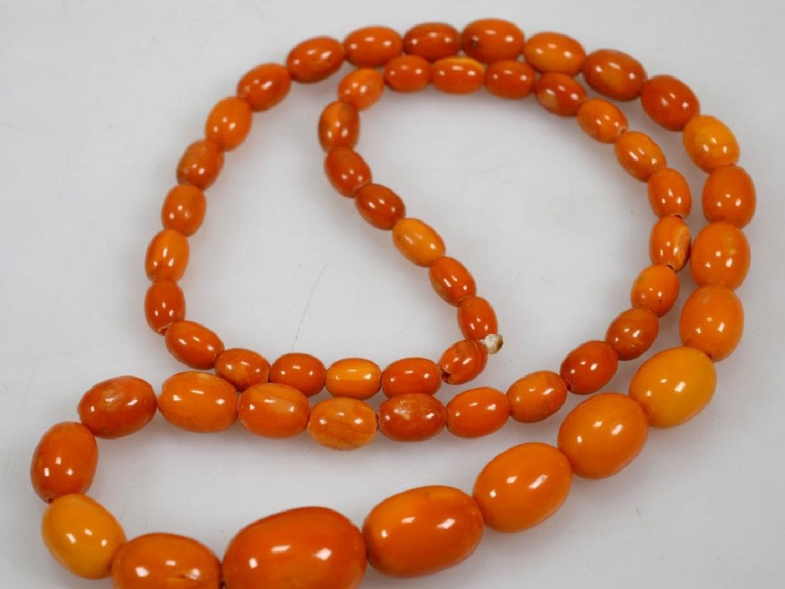 2- Butterscotch Amber Bead Necklaces; 91G - 9