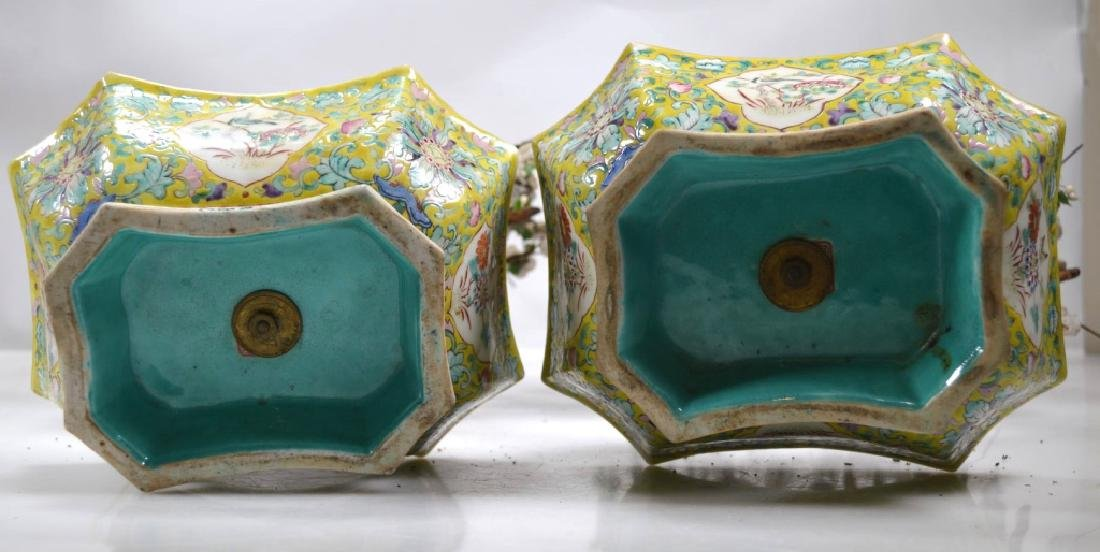 Pair 19th C Chinese Planters Blown Glass Flowers - 10
