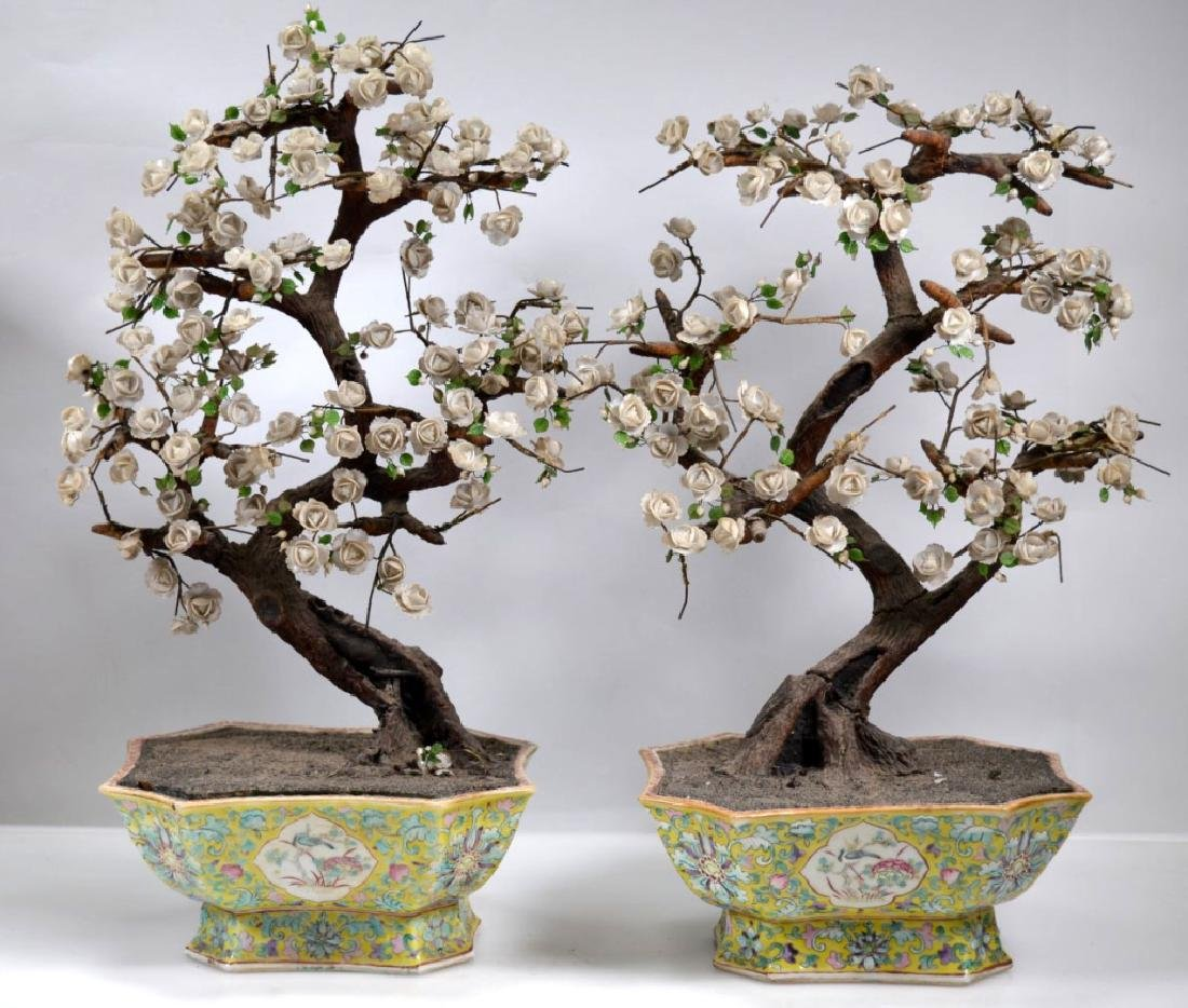 Pair 19th C Chinese Planters Blown Glass Flowers
