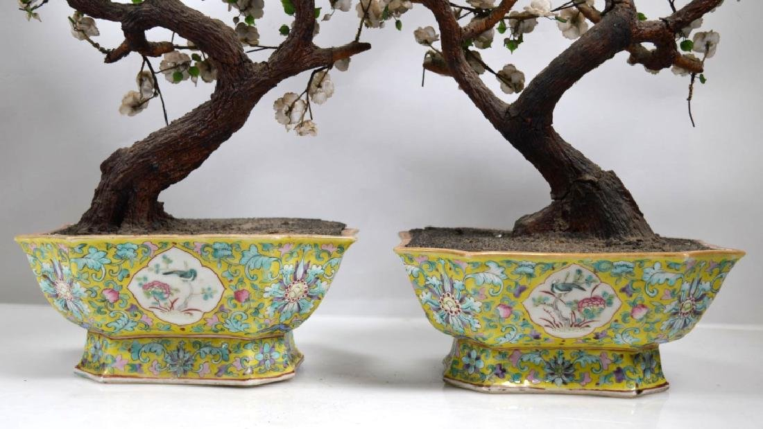 Pair 19th C Chinese Planters Blown Glass Flowers - 6