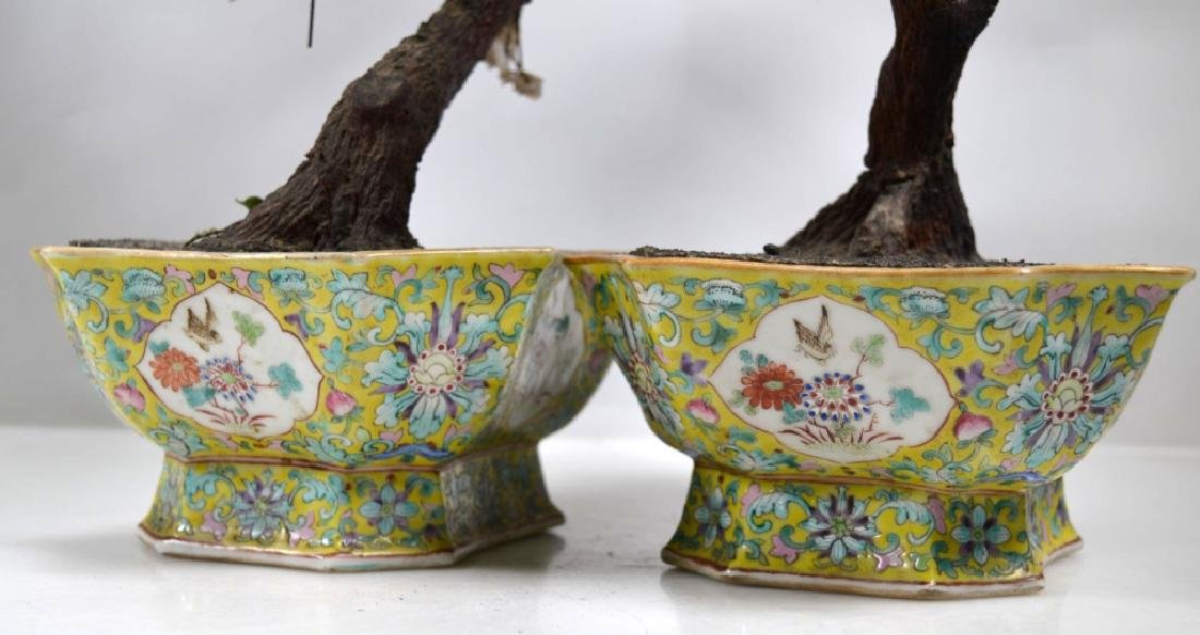 Pair 19th C Chinese Planters Blown Glass Flowers - 7