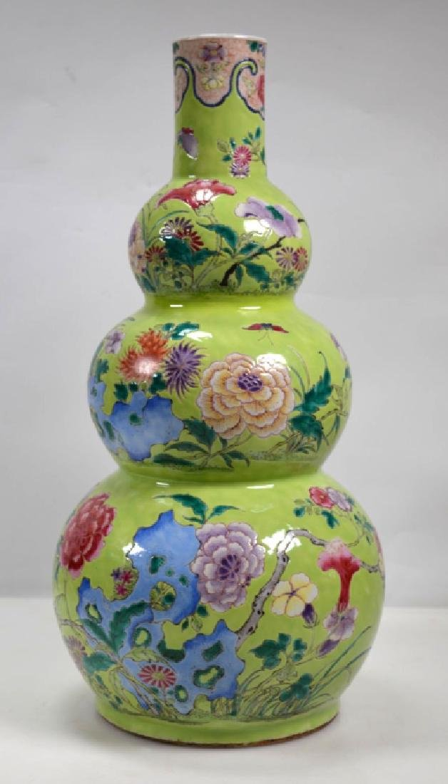 19th Century Chinese Porcelain Triple Gourd Vase