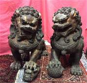 Fine Lg Chinese Gilt Bronze Pair of Temple Lions