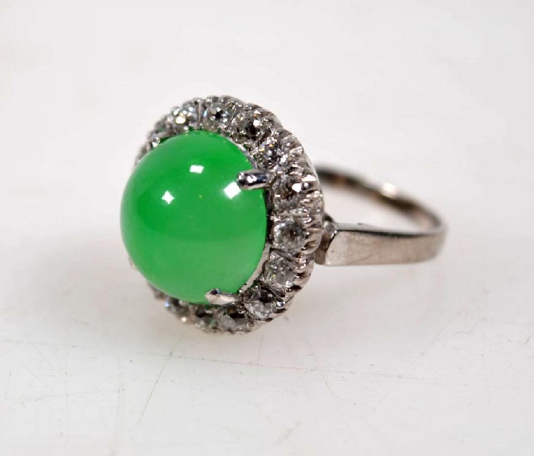 GIA Certified Natural Jadeite in 14K w Brilliants - 2