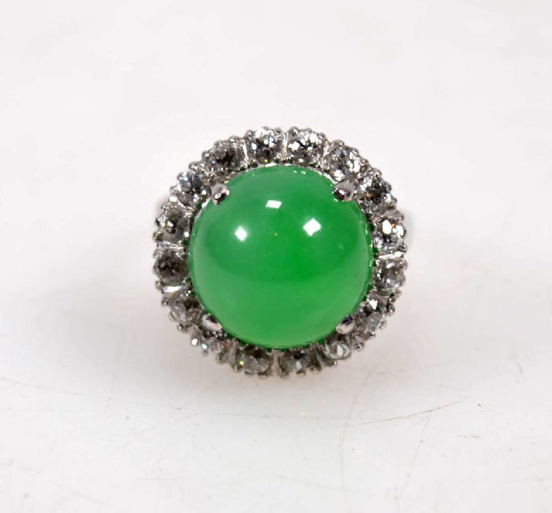 GIA Certified Natural Jadeite in 14K w Brilliants - 3