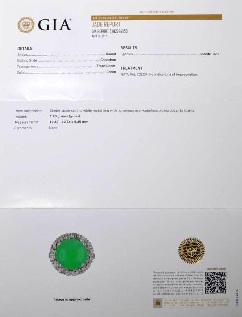 GIA Certified Natural Jadeite in 14K w Brilliants - 6