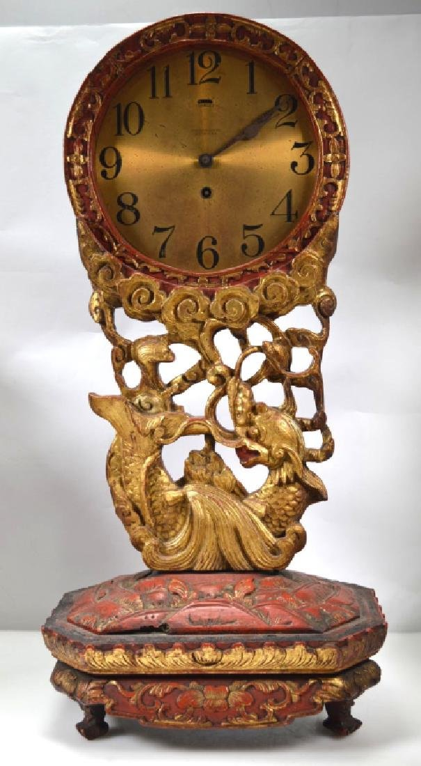 Chelsea Clock, Boston Chinese Lacquer Dragon Stand