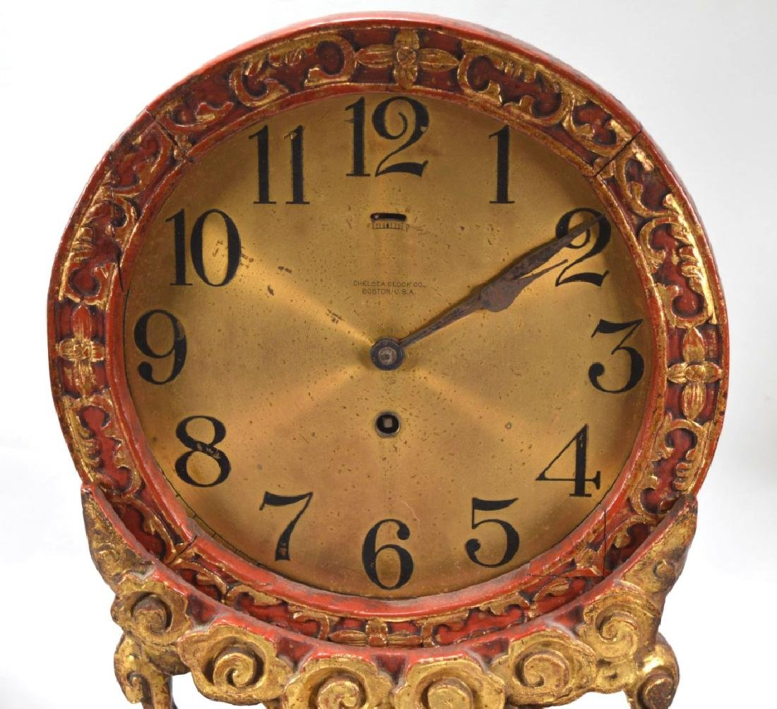 Chelsea Clock, Boston Chinese Lacquer Dragon Stand - 2