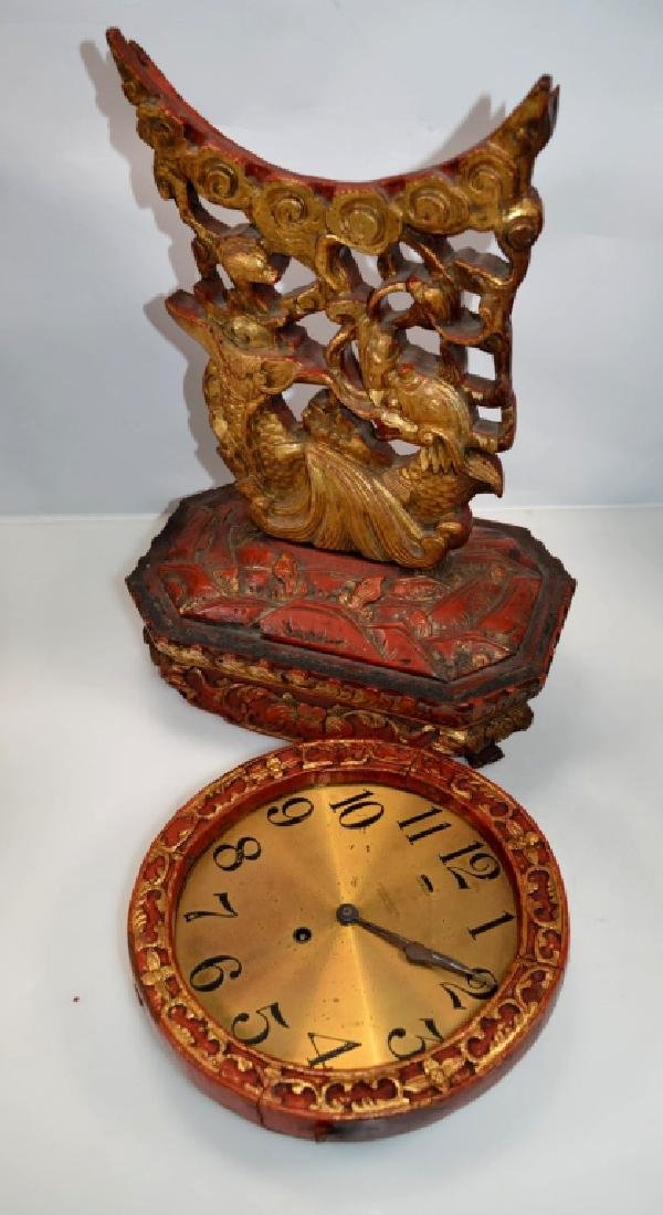 Chelsea Clock, Boston Chinese Lacquer Dragon Stand - 7