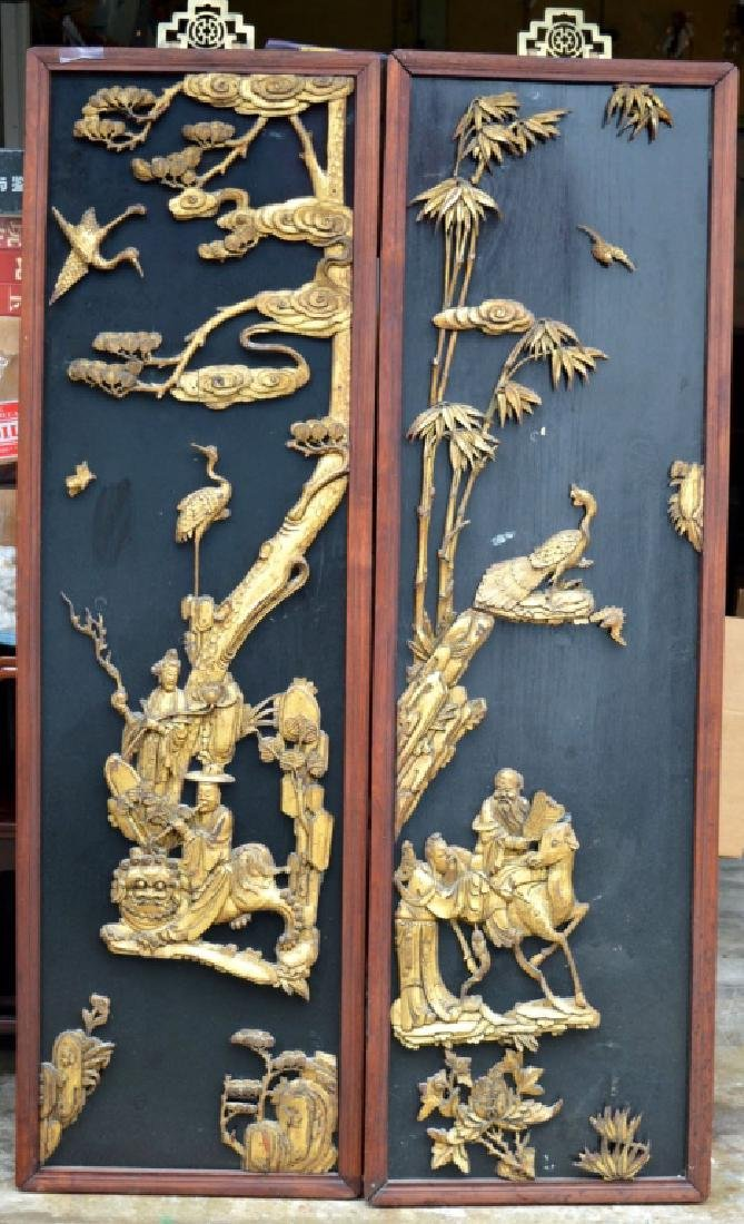 Pr Qing Dynasty Chinese Gold Lacquer Wood Panels