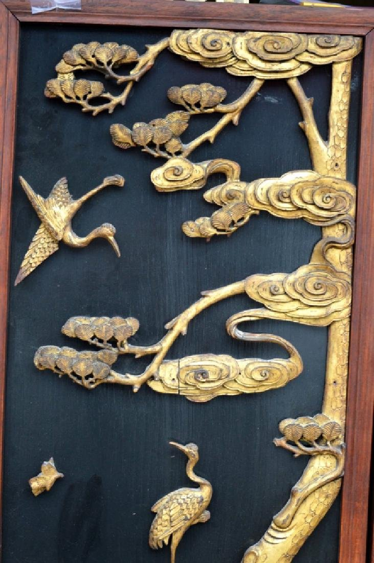Pr Qing Dynasty Chinese Gold Lacquer Wood Panels - 2