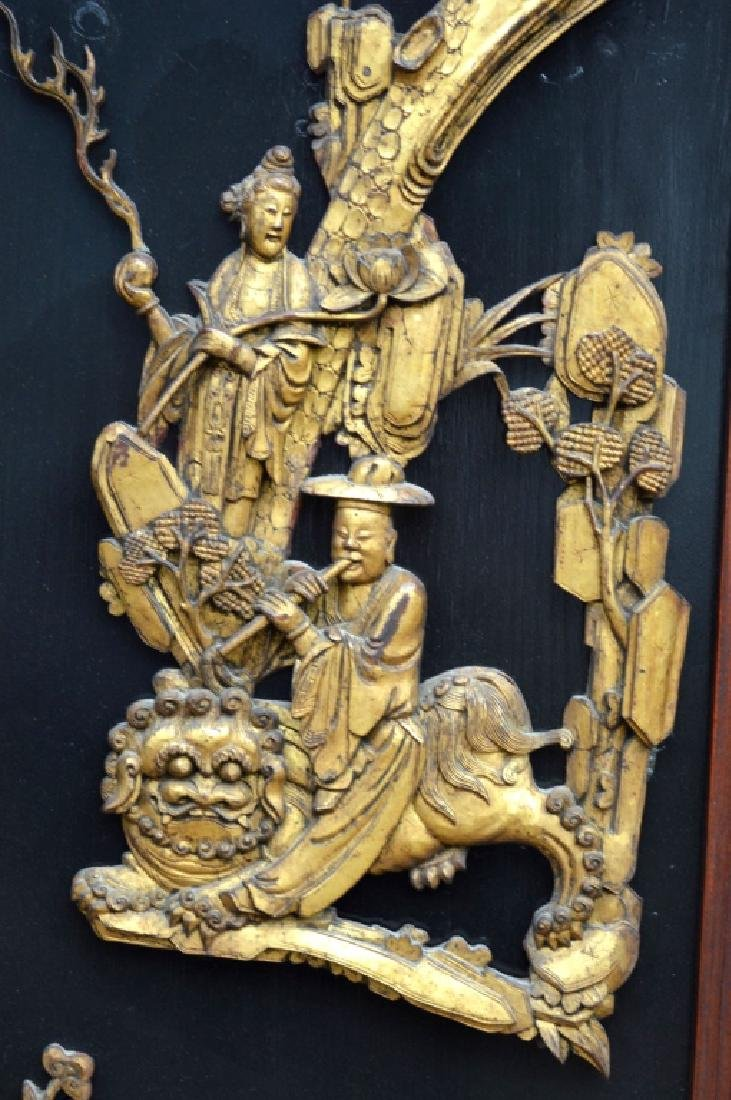 Pr Qing Dynasty Chinese Gold Lacquer Wood Panels - 3