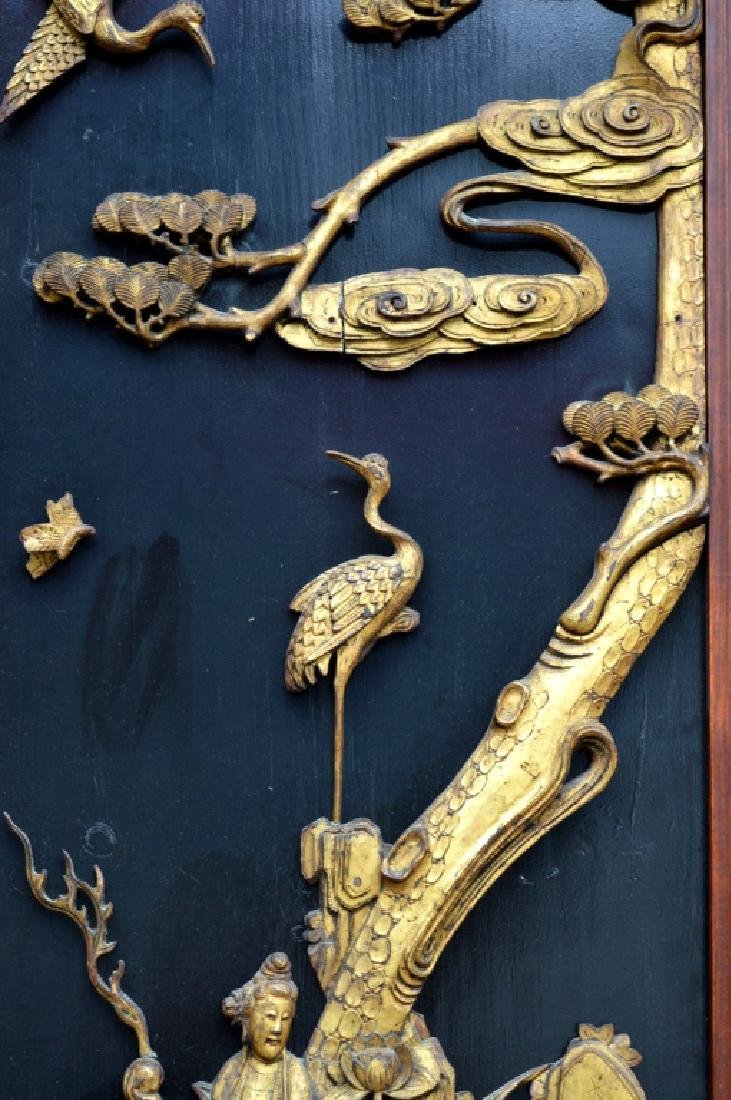 Pr Qing Dynasty Chinese Gold Lacquer Wood Panels - 4