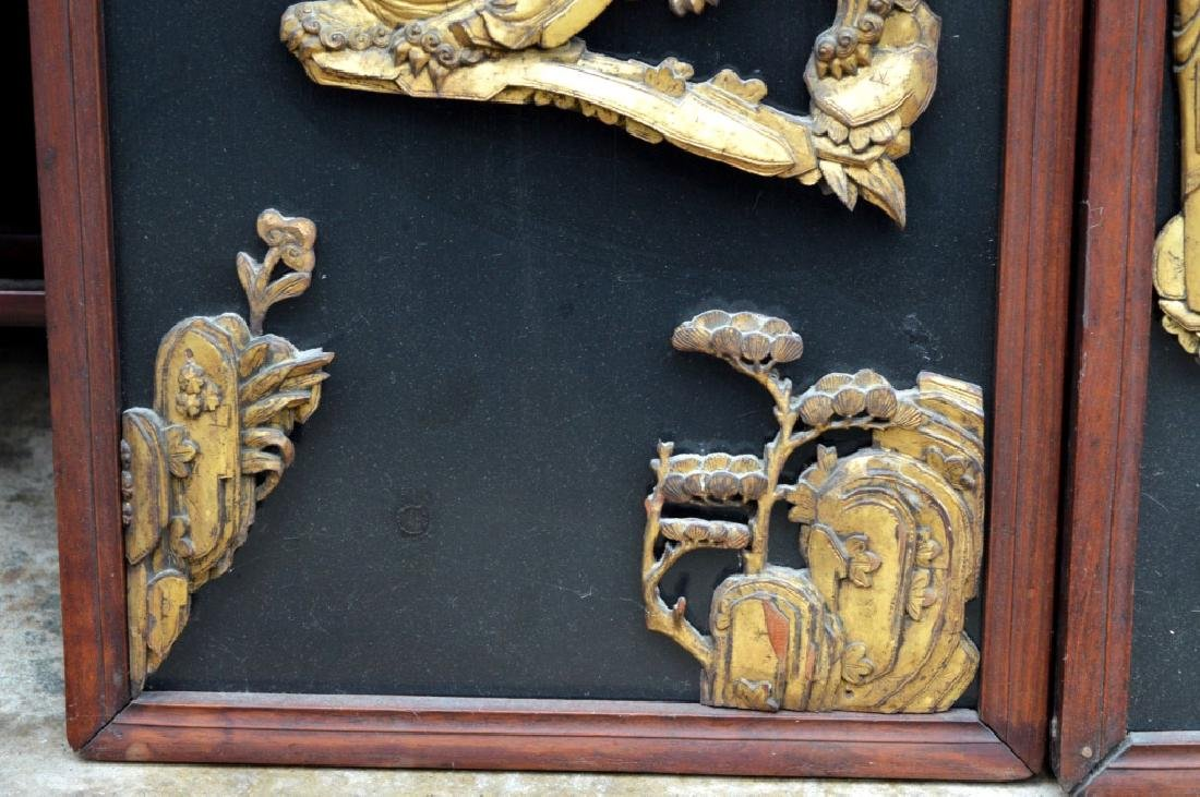 Pr Qing Dynasty Chinese Gold Lacquer Wood Panels - 5