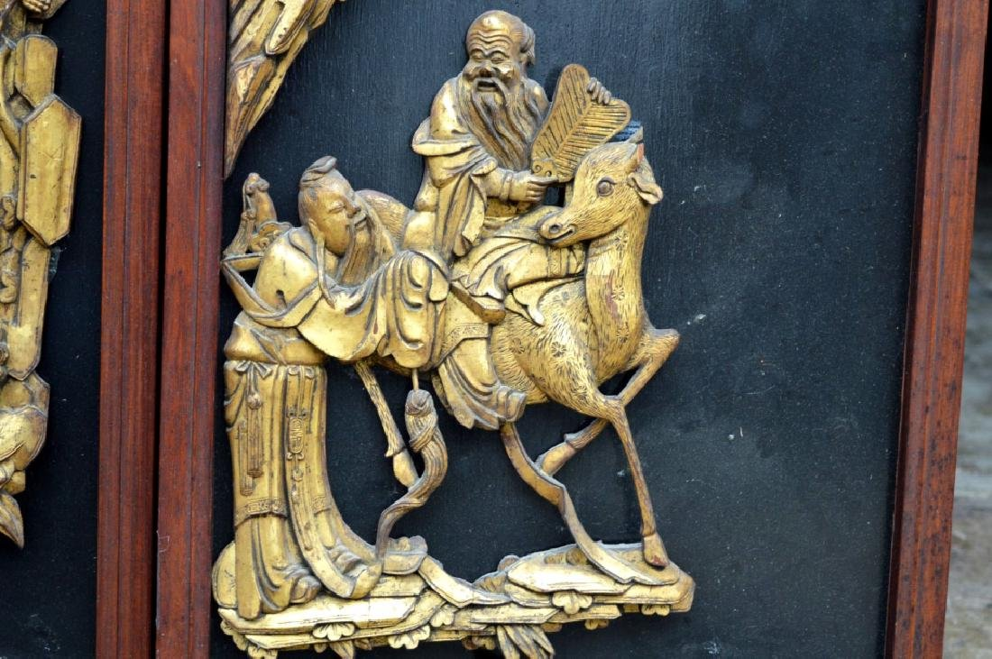 Pr Qing Dynasty Chinese Gold Lacquer Wood Panels - 6