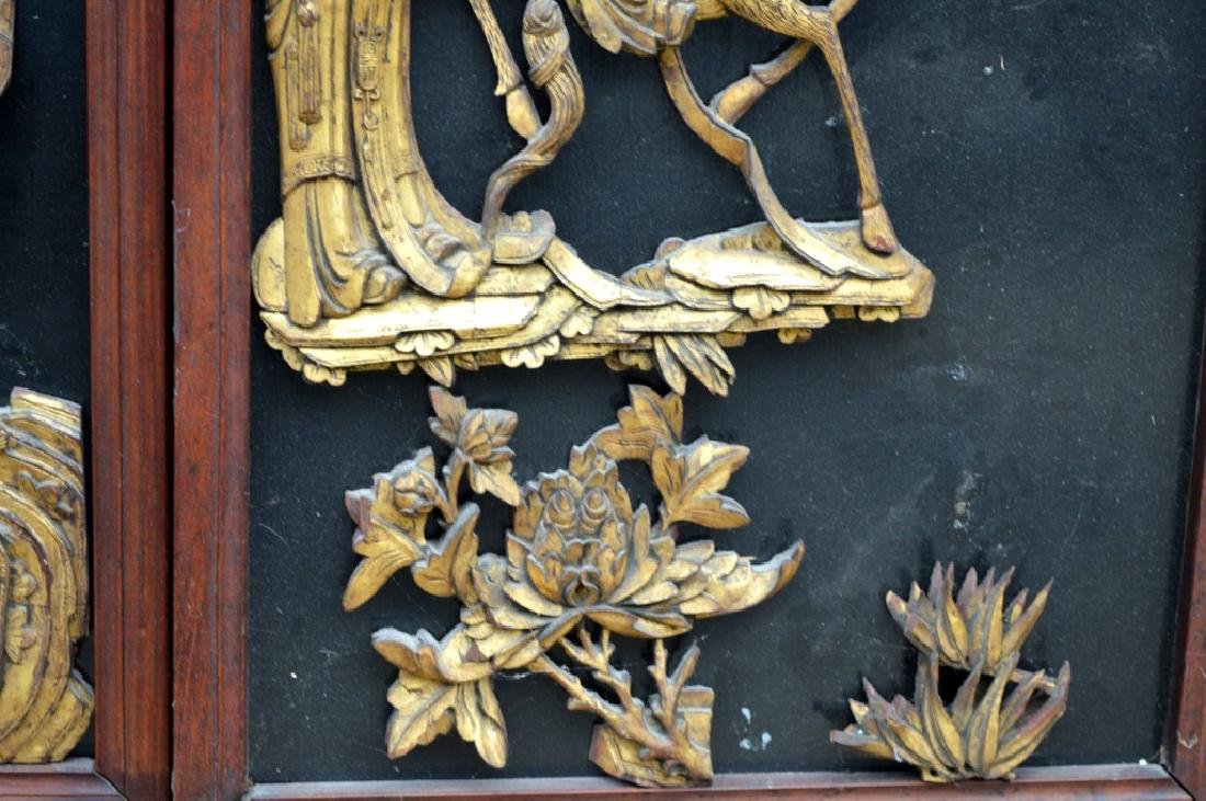 Pr Qing Dynasty Chinese Gold Lacquer Wood Panels - 7