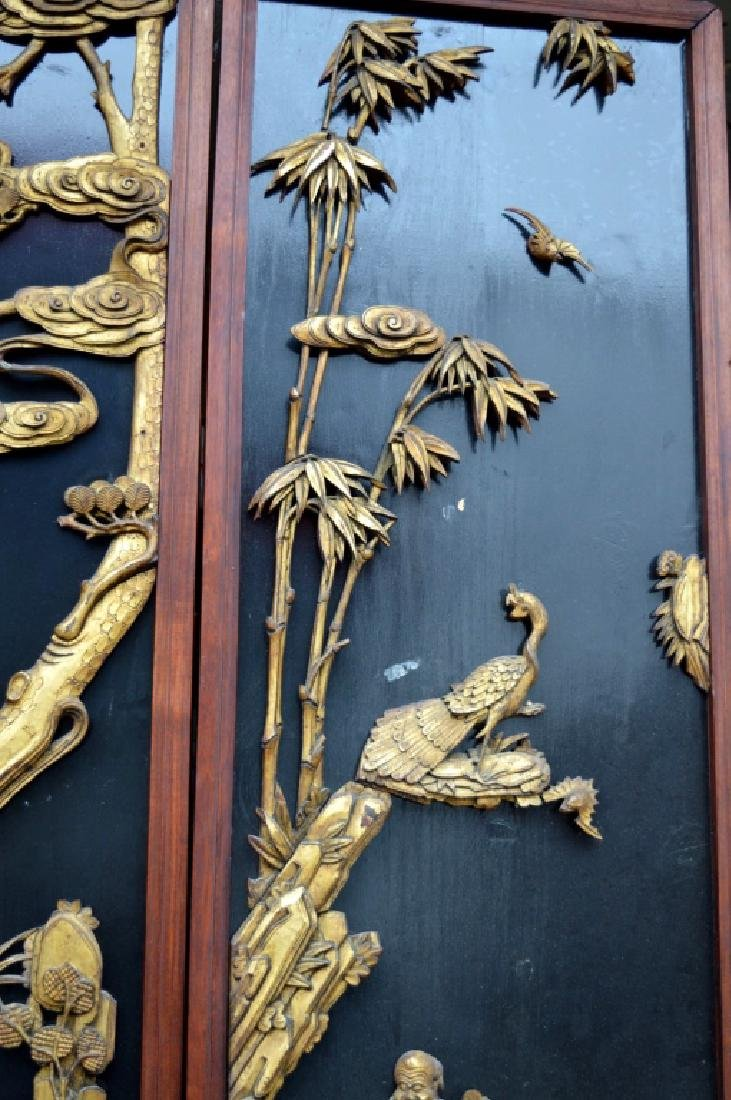Pr Qing Dynasty Chinese Gold Lacquer Wood Panels - 8