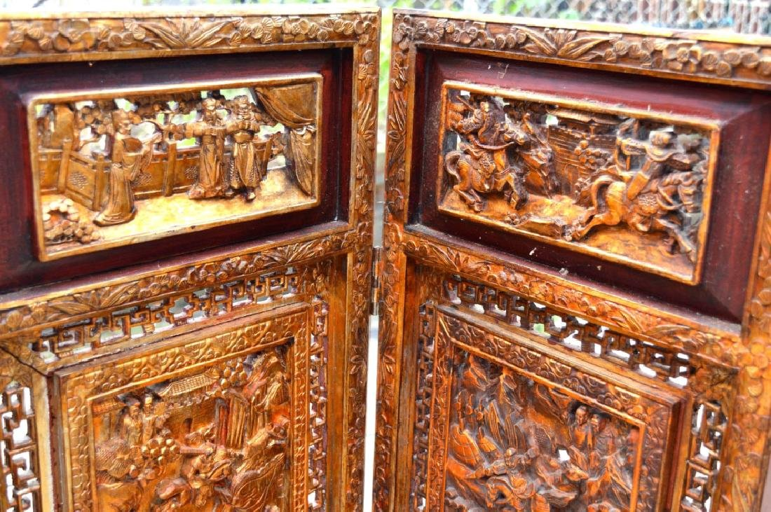 Chinese Canton Gold Lacquer Carved Wood Screen - 2