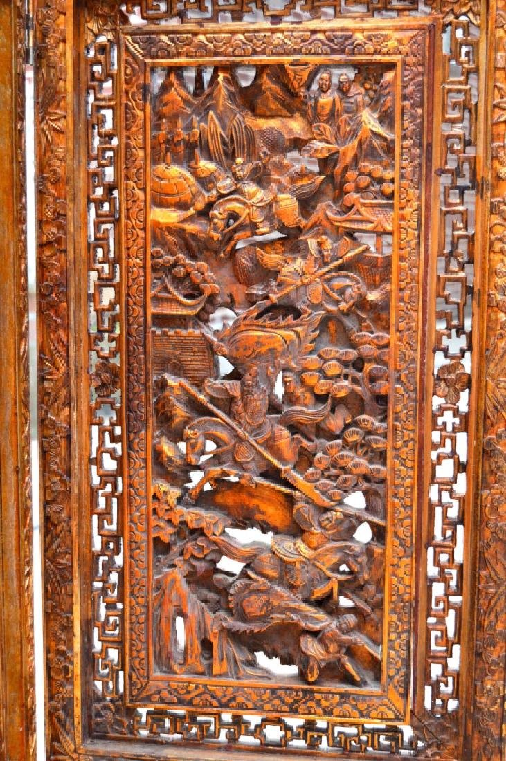 Chinese Canton Gold Lacquer Carved Wood Screen - 3