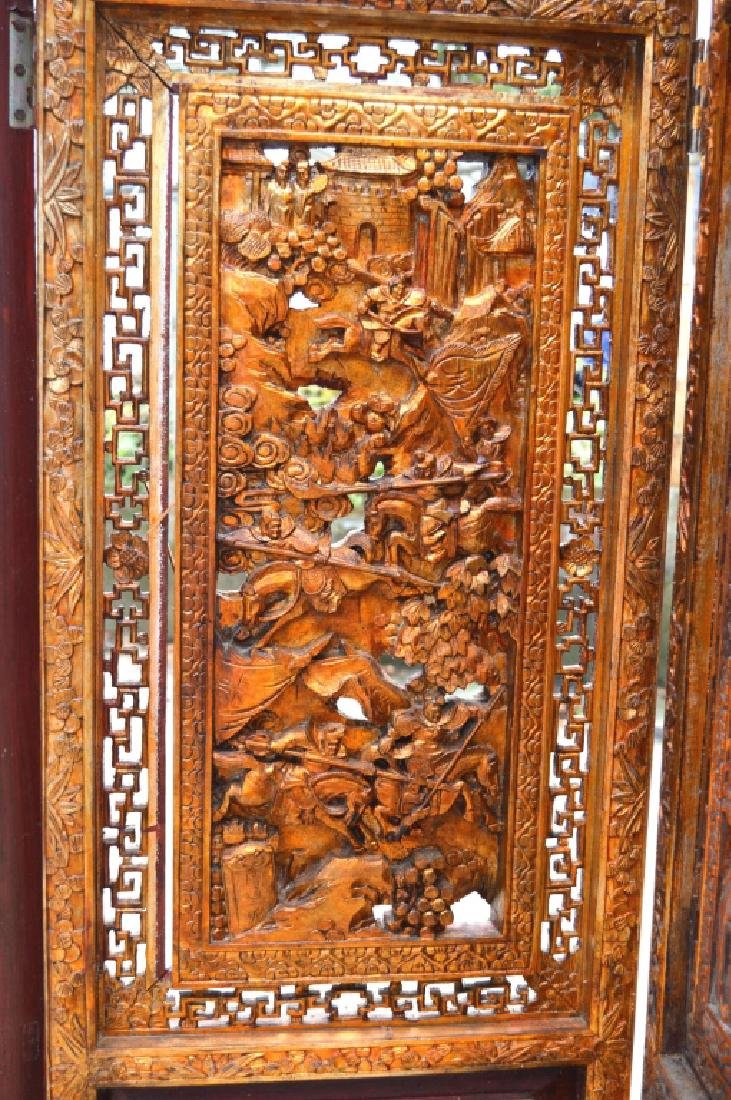 Chinese Canton Gold Lacquer Carved Wood Screen - 4