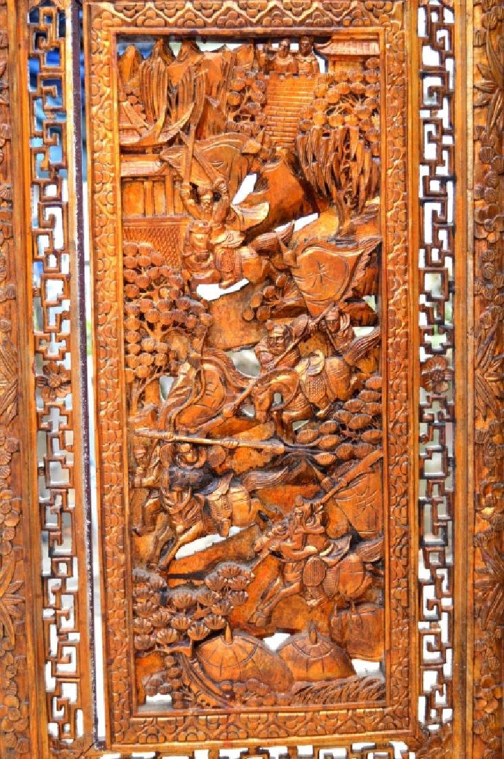 Chinese Canton Gold Lacquer Carved Wood Screen - 5