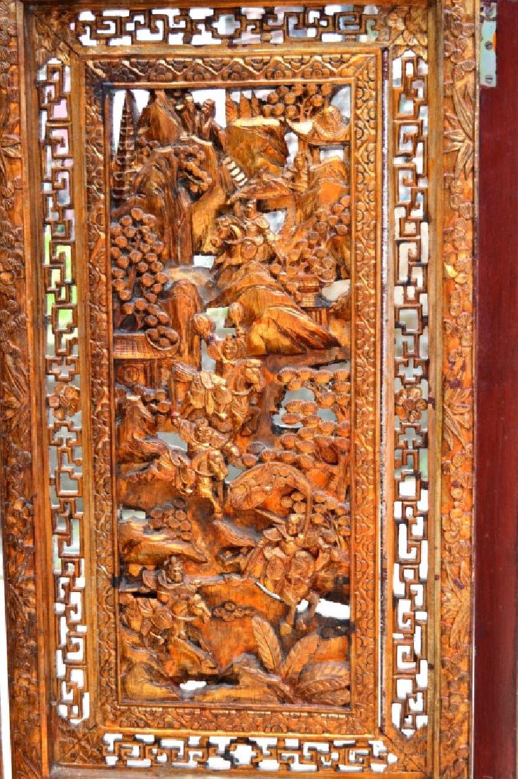 Chinese Canton Gold Lacquer Carved Wood Screen - 6