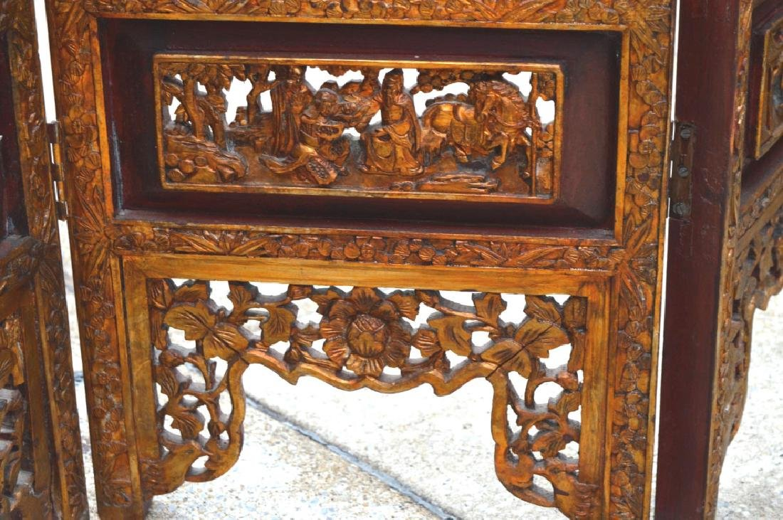 Chinese Canton Gold Lacquer Carved Wood Screen - 7