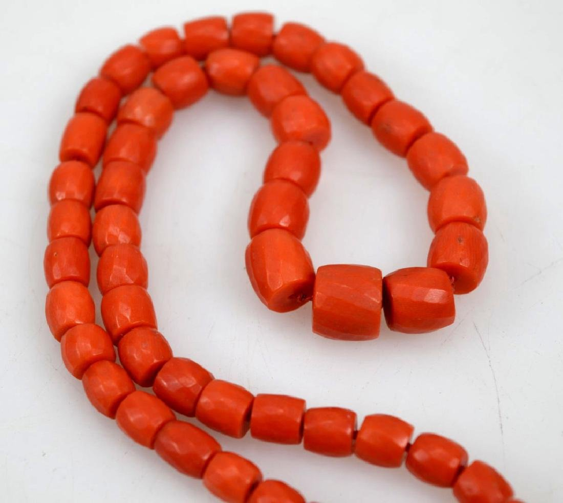 Antique Coral Bead Necklace, 18K Closure; 53.8G - 2