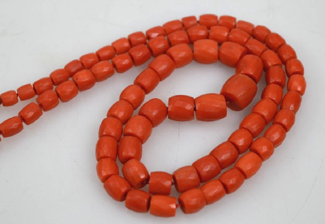 Antique Coral Bead Necklace, 18K Closure; 53.8G - 3