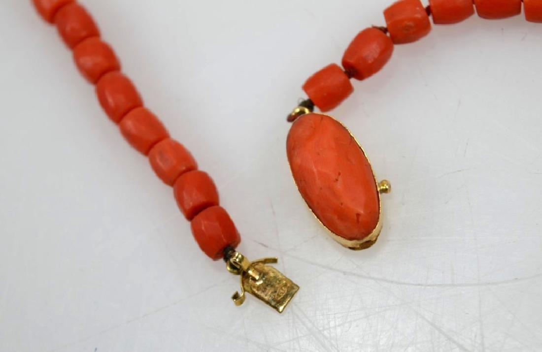 Antique Coral Bead Necklace, 18K Closure; 53.8G - 5