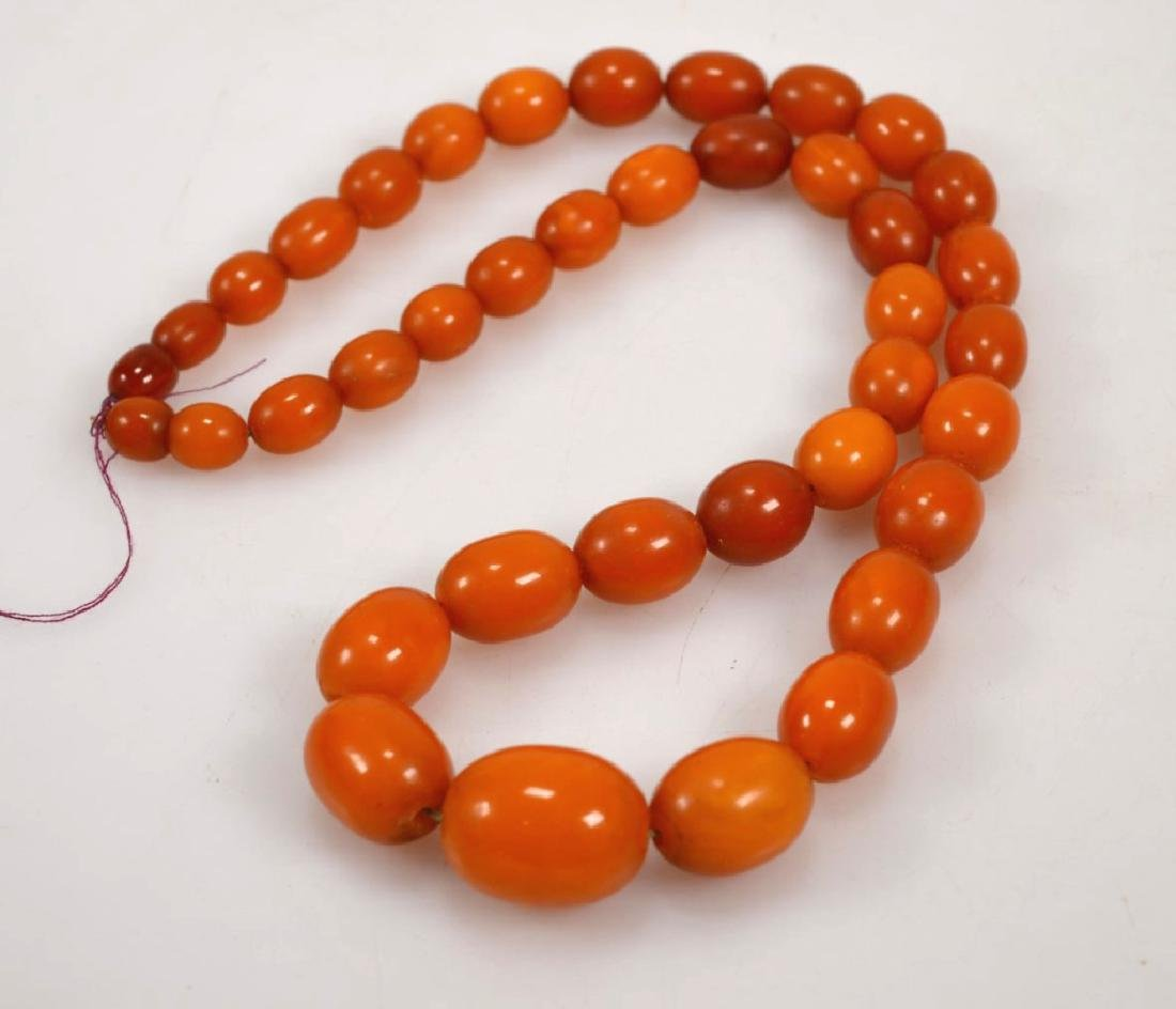 Butterscotch Amber Bead Necklace; 61 Grams.