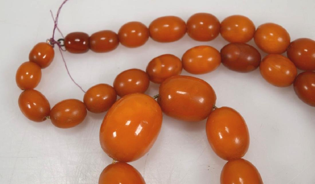 Butterscotch Amber Bead Necklace; 61 Grams. - 4