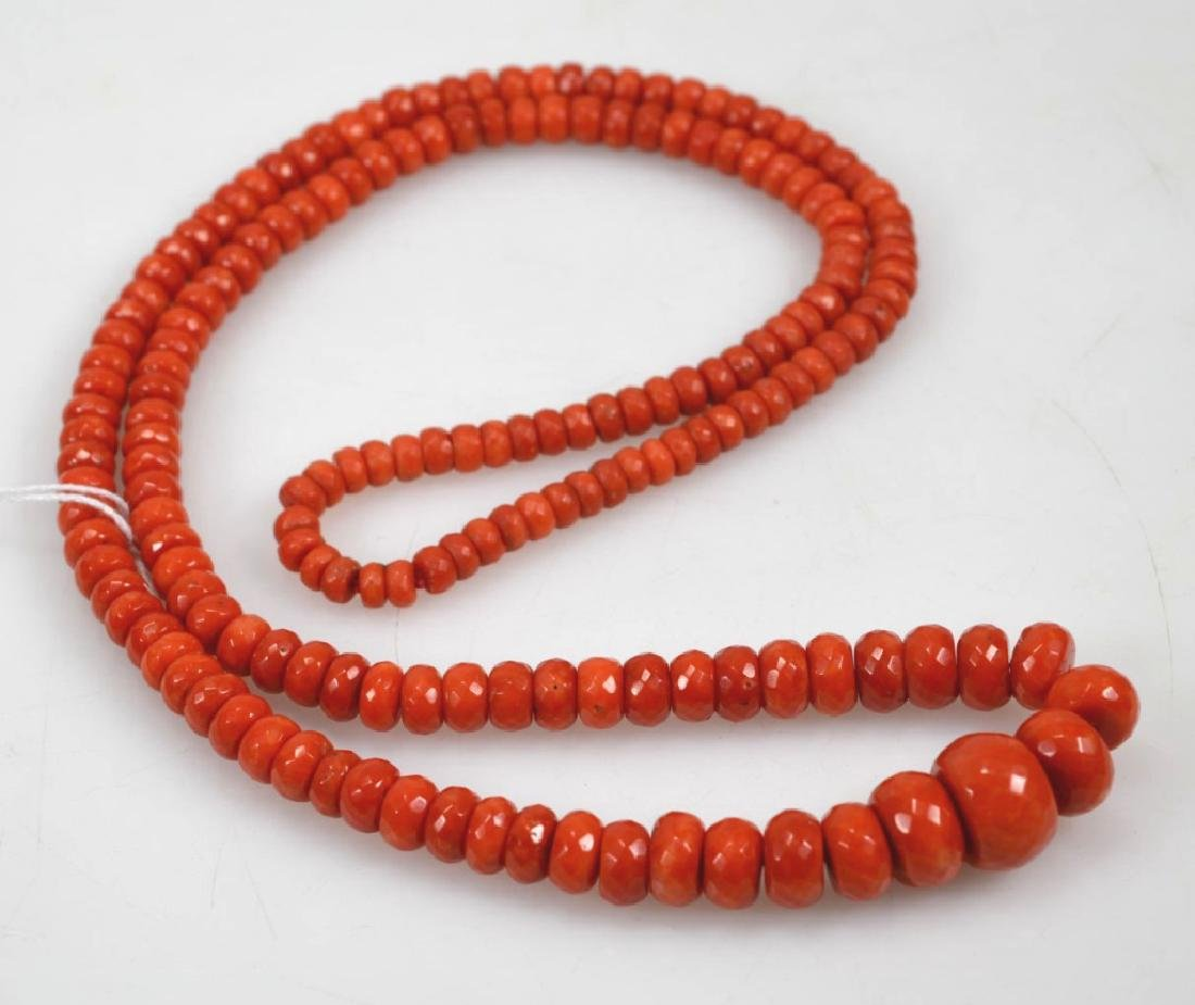 Dark Coral Bead Necklace; total weight 112G