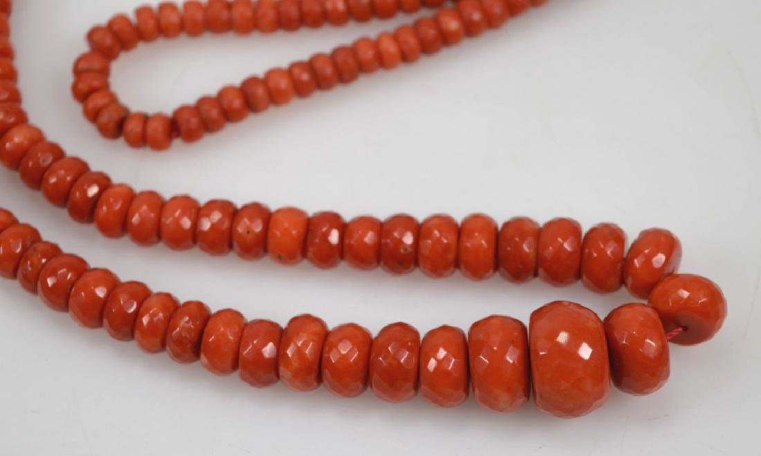 Dark Coral Bead Necklace; total weight 112G - 2