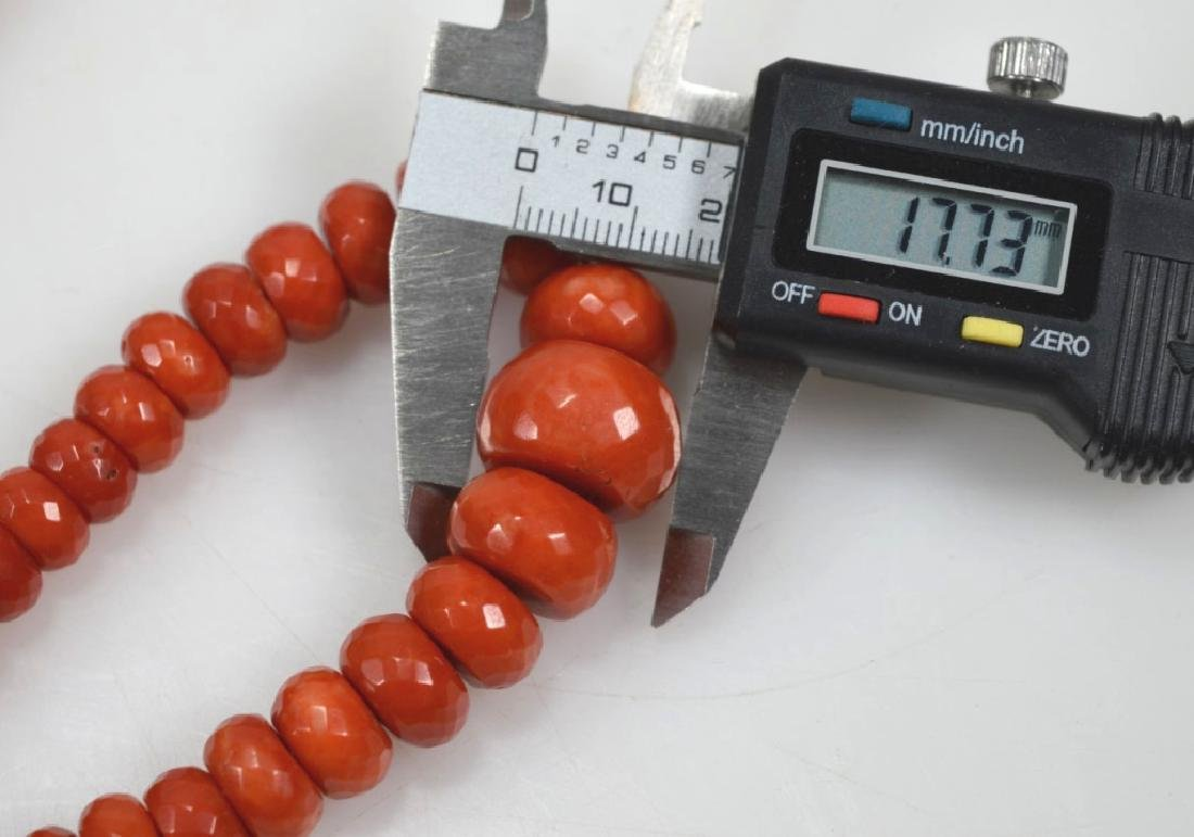 Dark Coral Bead Necklace; total weight 112G - 5