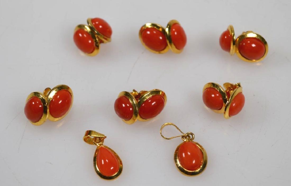 6 Pr Coral & 14K Earrings; 2 Pendants; 15.5G