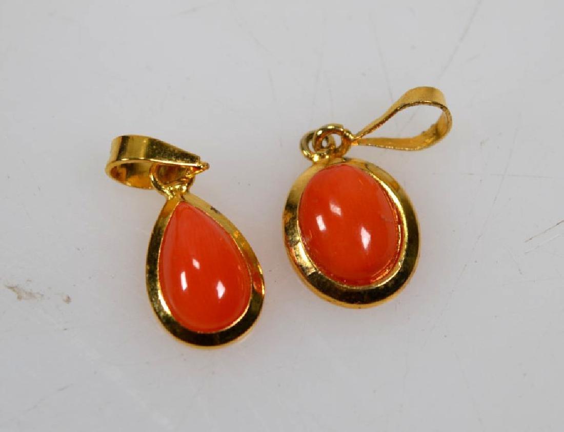 6 Pr Coral & 14K Earrings; 2 Pendants; 15.5G - 2