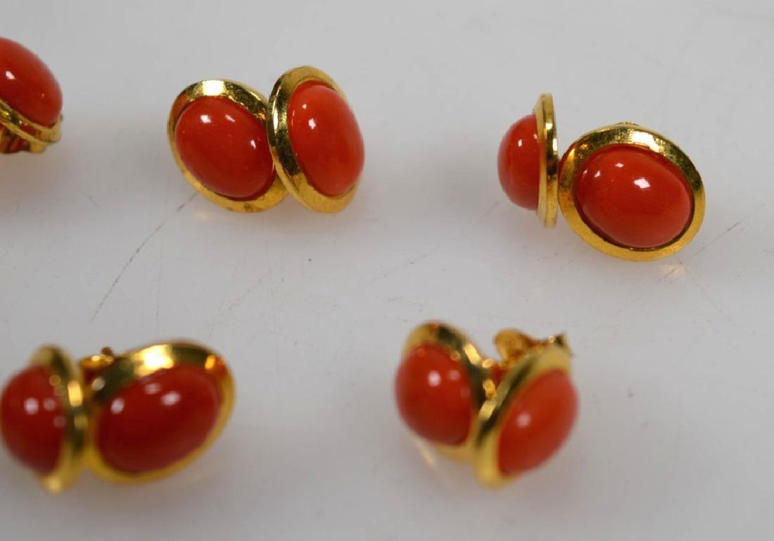 6 Pr Coral & 14K Earrings; 2 Pendants; 15.5G - 4