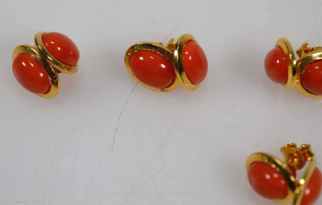 6 Pr Coral & 14K Earrings; 2 Pendants; 15.5G - 5