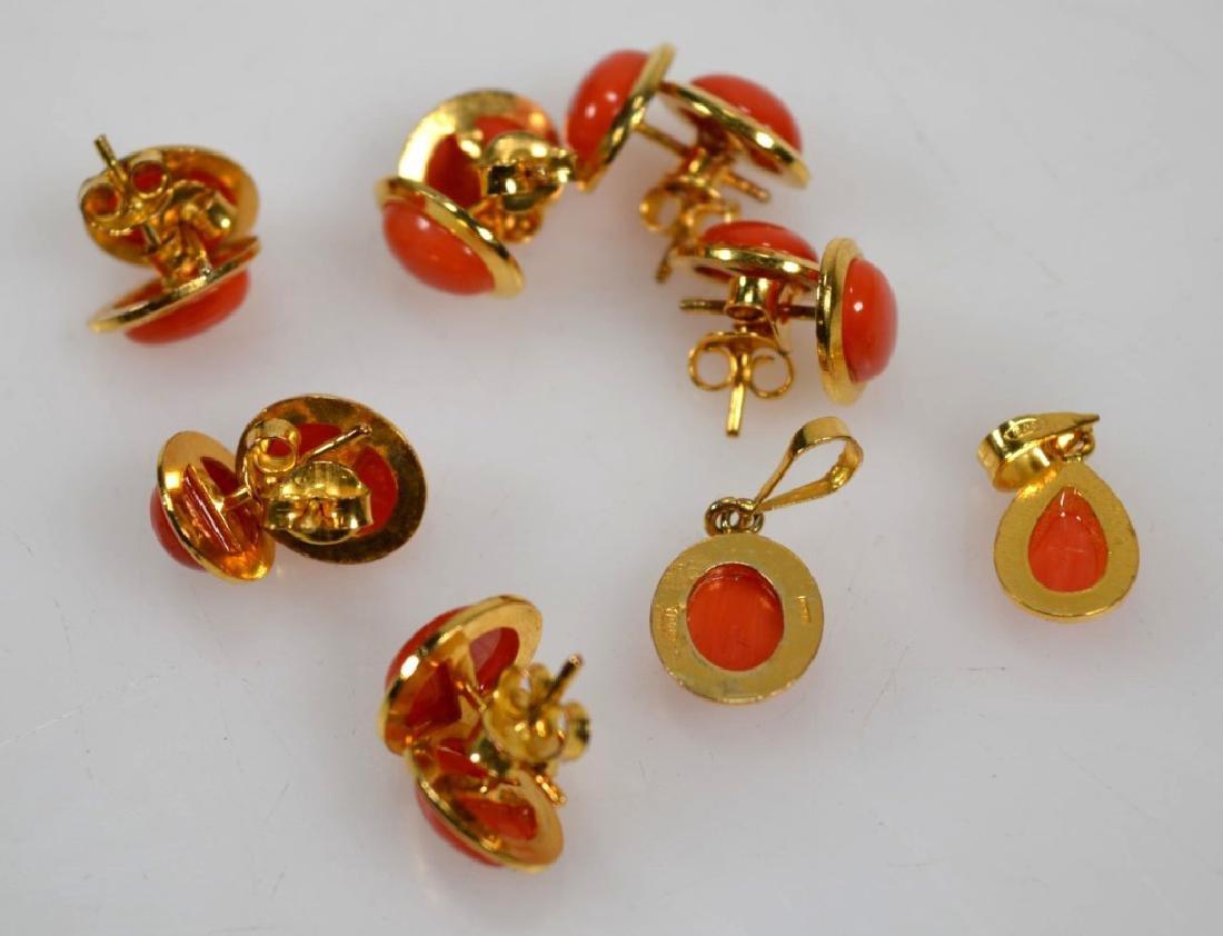 6 Pr Coral & 14K Earrings; 2 Pendants; 15.5G - 6