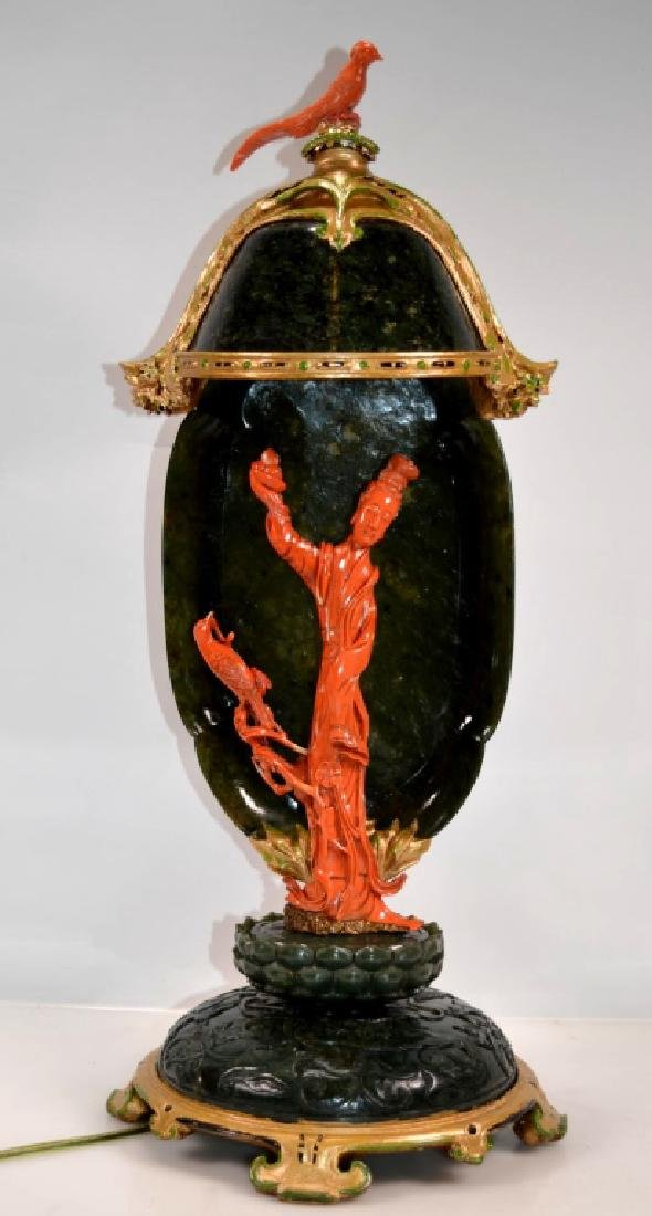 """Farmer & C."" Style Chinese Jade/Coral Lamp"